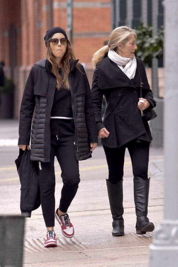 Jessica Biel with her mom Kimberly Biel out in New York City -02