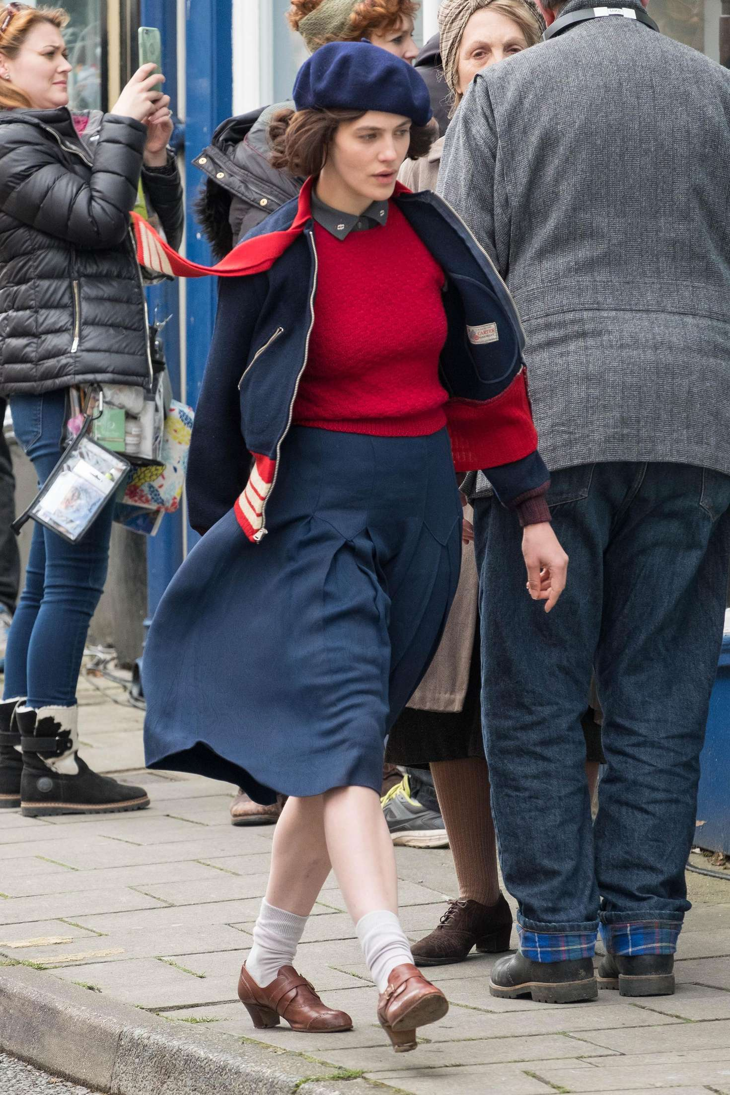 Jessica Brown Findlay on set of 'Gurnsey' in London