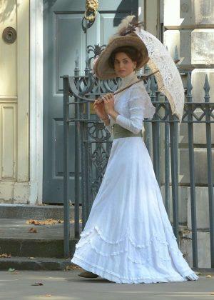 Jessica Brown Findlay shooting promo pics for new ITV brothel drama Harlots