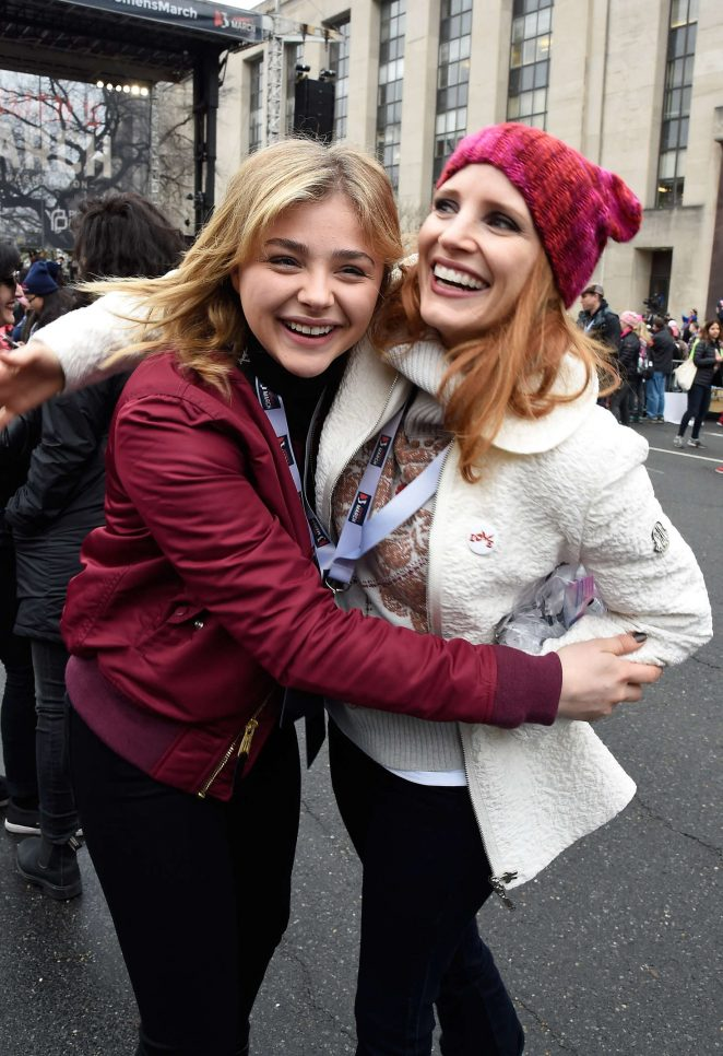 Jessica Chastain and Chloe Moretz - Women's March on Washington