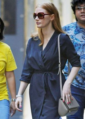 Jessica Chastain and Gian Luca Passi de Preposulo out in New York City