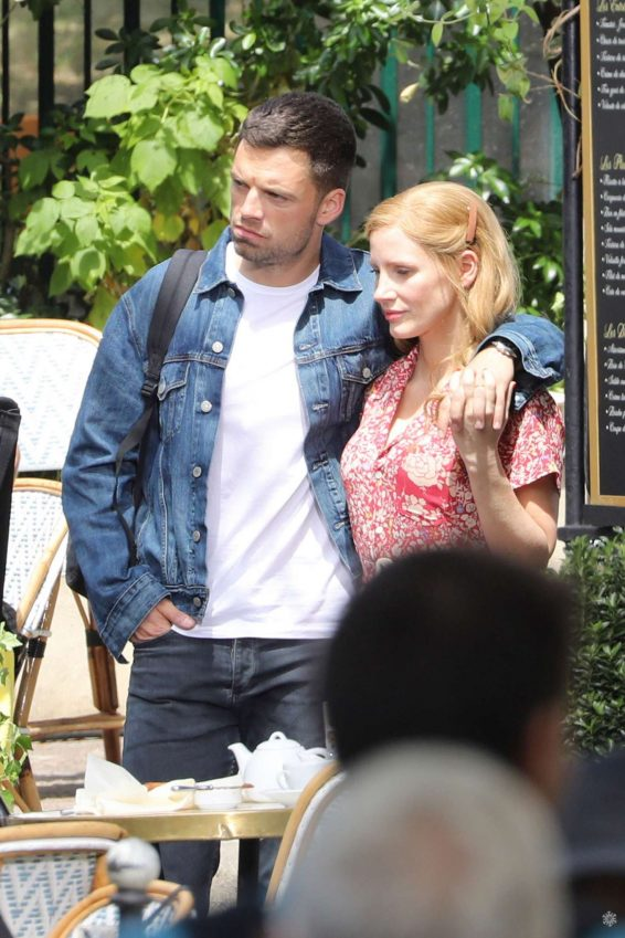 Jessica Chastain 2019 : Jessica Chastain and Sebastian Stan – On set of 355 in Paris-01