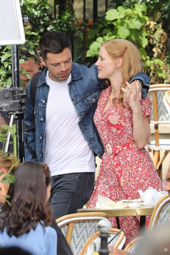 Jessica Chastain and Sebastian Stan - On set of '355' in Paris