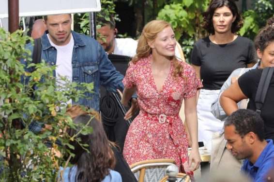 Jessica Chastain 2019 : Jessica Chastain and Sebastian Stan – On set of 355 in Paris-07