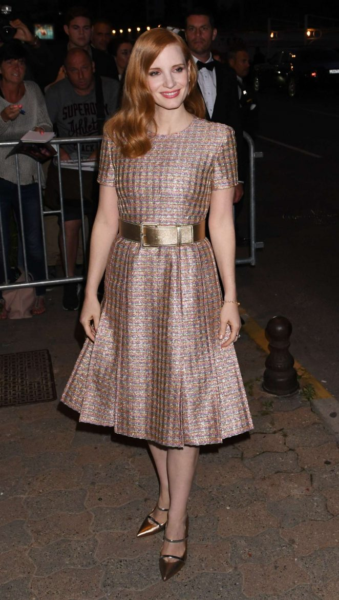 Jessica Chastain Arriving at Chanel dinner in Cannes
