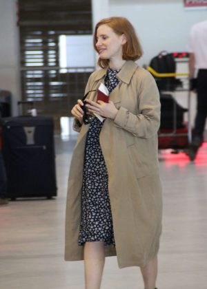 Jessica Chastain at Roissy Charles de Gaulle Airport in Paris