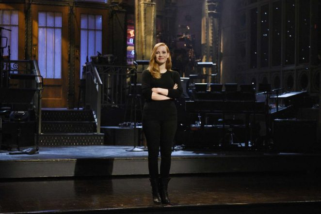 Jessica Chastain - During a promo for Saturday Night Live in NYC