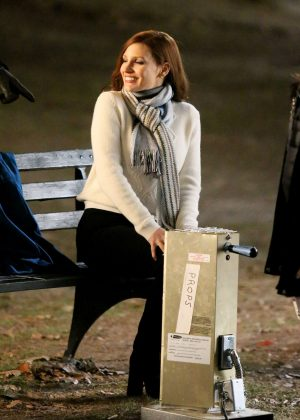 Jessica Chastain - Filming 'Molly's Game' in Central Park