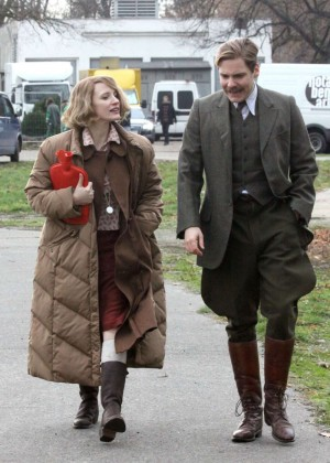 Jessica Chastain - Filming 'Zookeeper's Wife' in Prague
