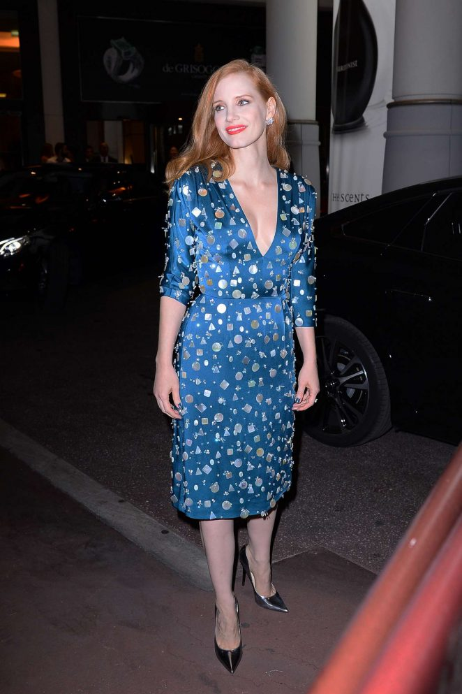 Jessica Chastain in blue dress out in Cannes