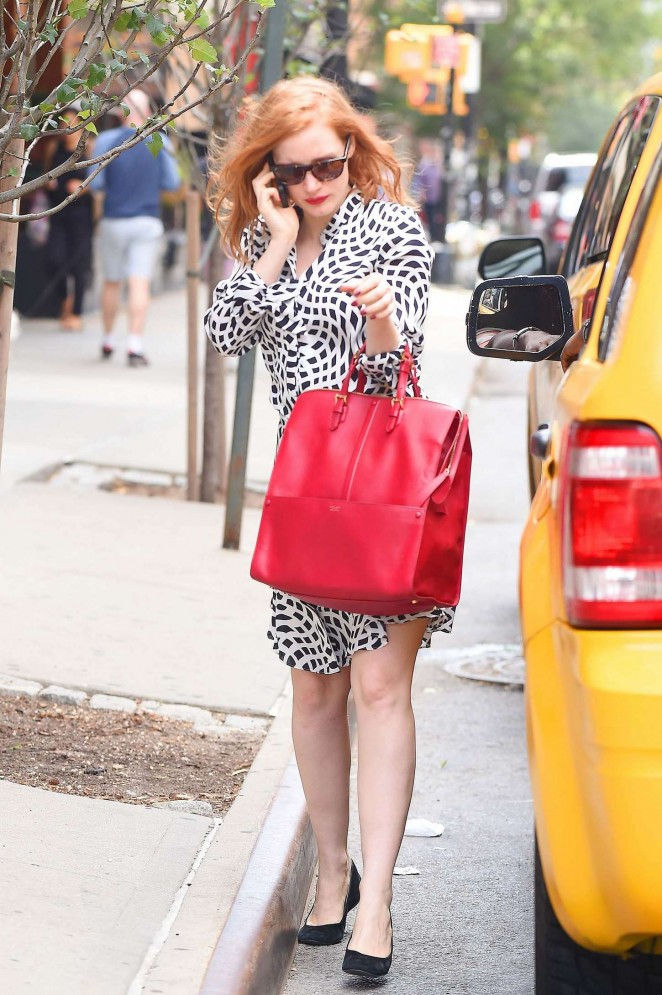 Jessica Chastain in Mini Dress out in NYC