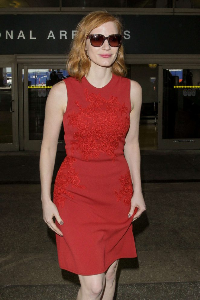 Jessica Chastain in Red Dress at LAX Airport in LA