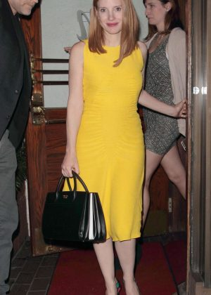 Jessica Chastain in Yellow Dress Leaves Madeo Restaurant in LA