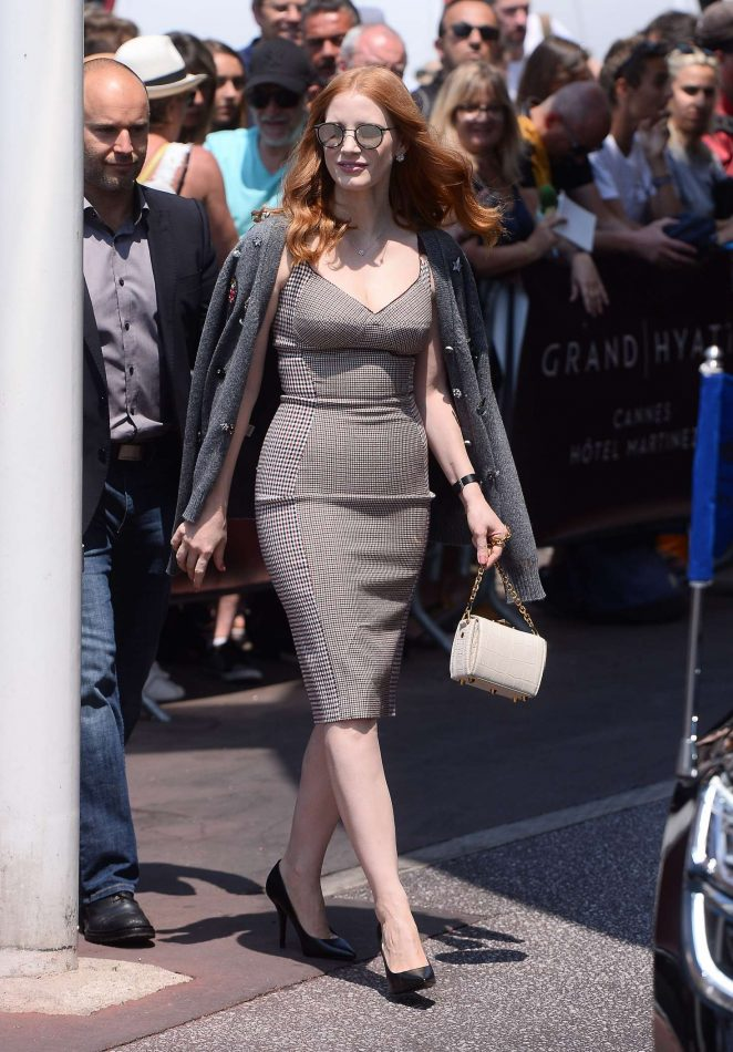 Jessica Chastain Leaves hotel Martinez in Cannes