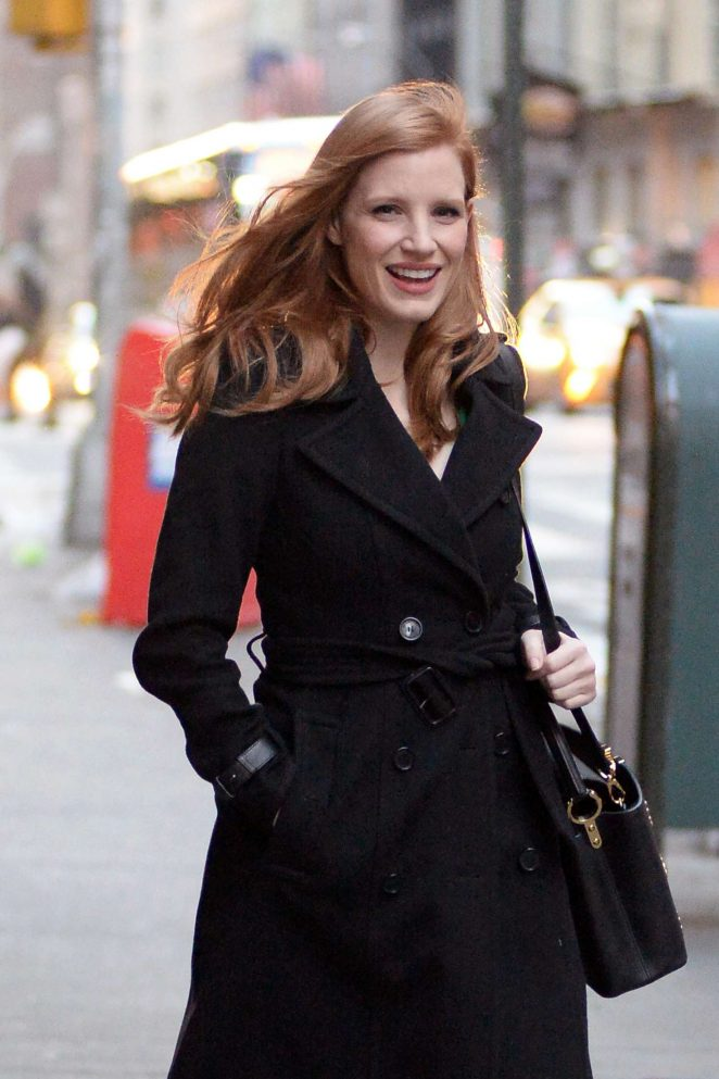 Jessica Chastain Leaving her apartment in New York City