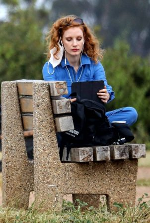 Jessica Chastain - On a bench overlooking the ocean in Pacific Palisades