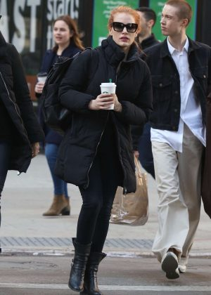 Jessica Chastain - On her way to host Saturday Night Live in NYC