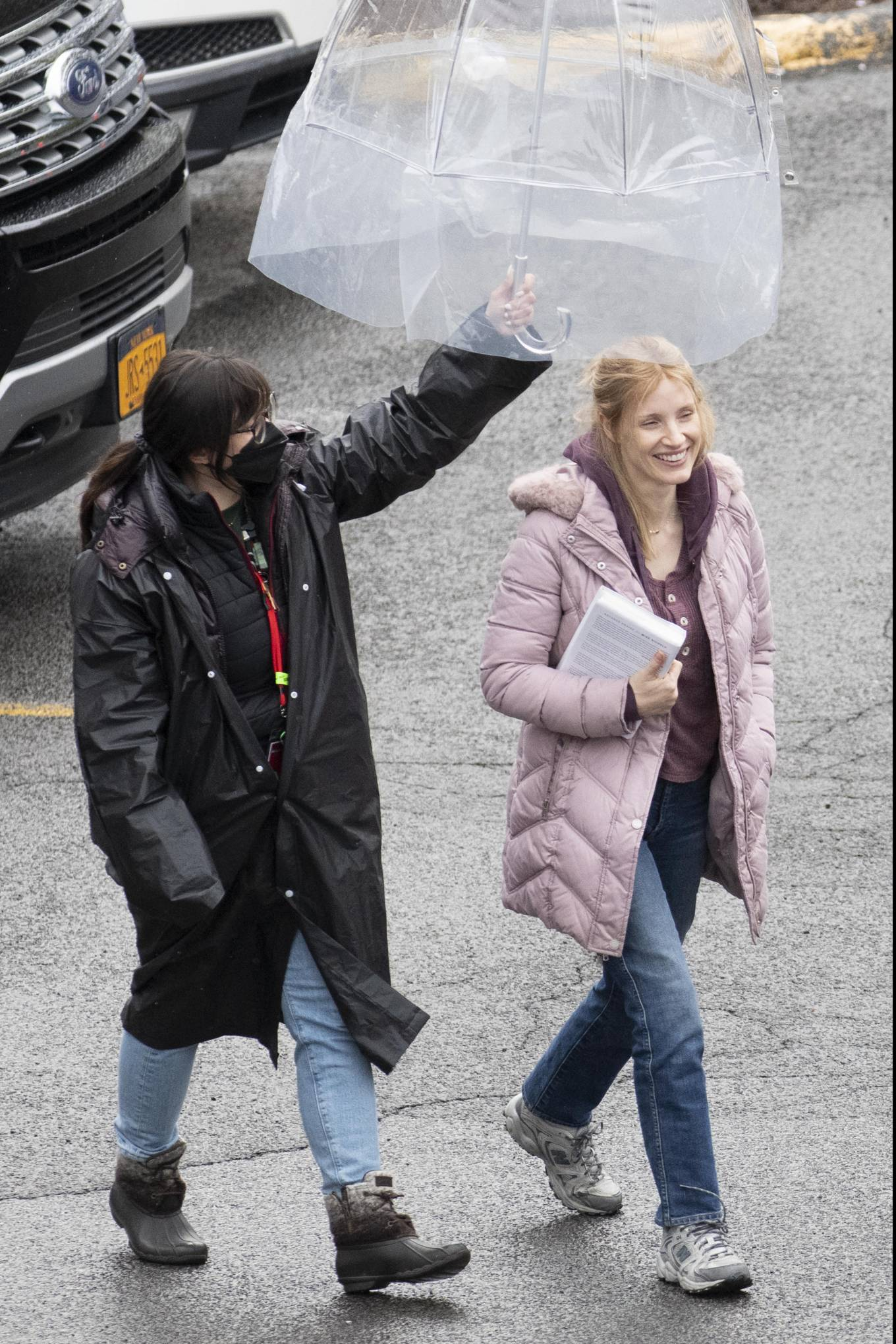 Jessica Chastain 2021 : Jessica Chastain – On rain the set of The Good Nurse in New York-01