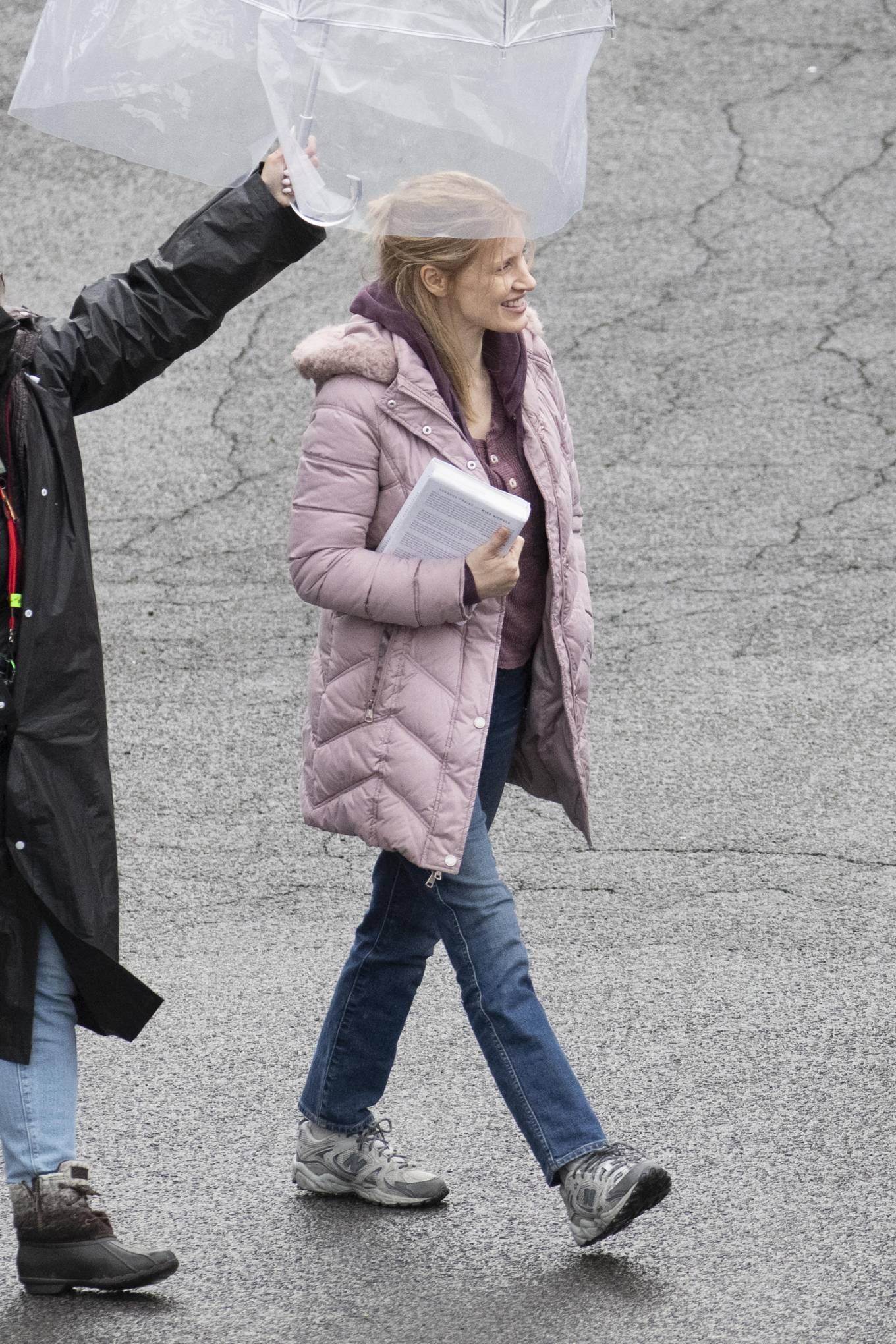 Jessica Chastain 2021 : Jessica Chastain – On rain the set of The Good Nurse in New York-02