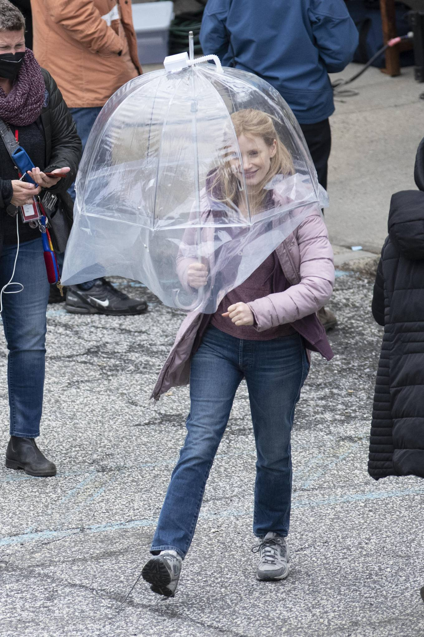 Jessica Chastain 2021 : Jessica Chastain – On rain the set of The Good Nurse in New York-08