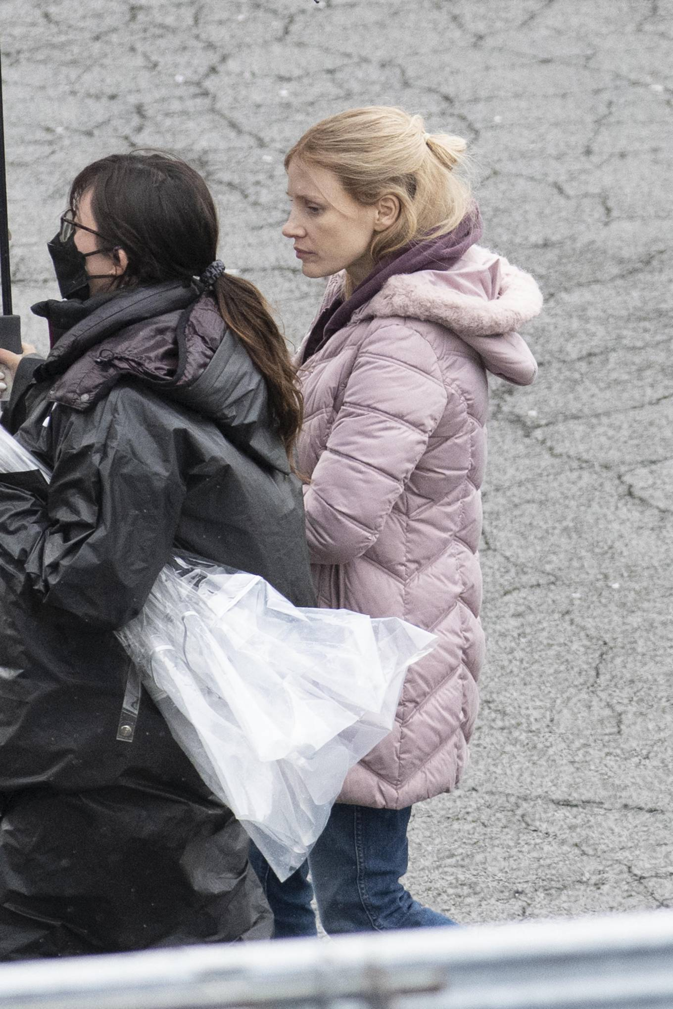 Jessica Chastain 2021 : Jessica Chastain – On rain the set of The Good Nurse in New York-10