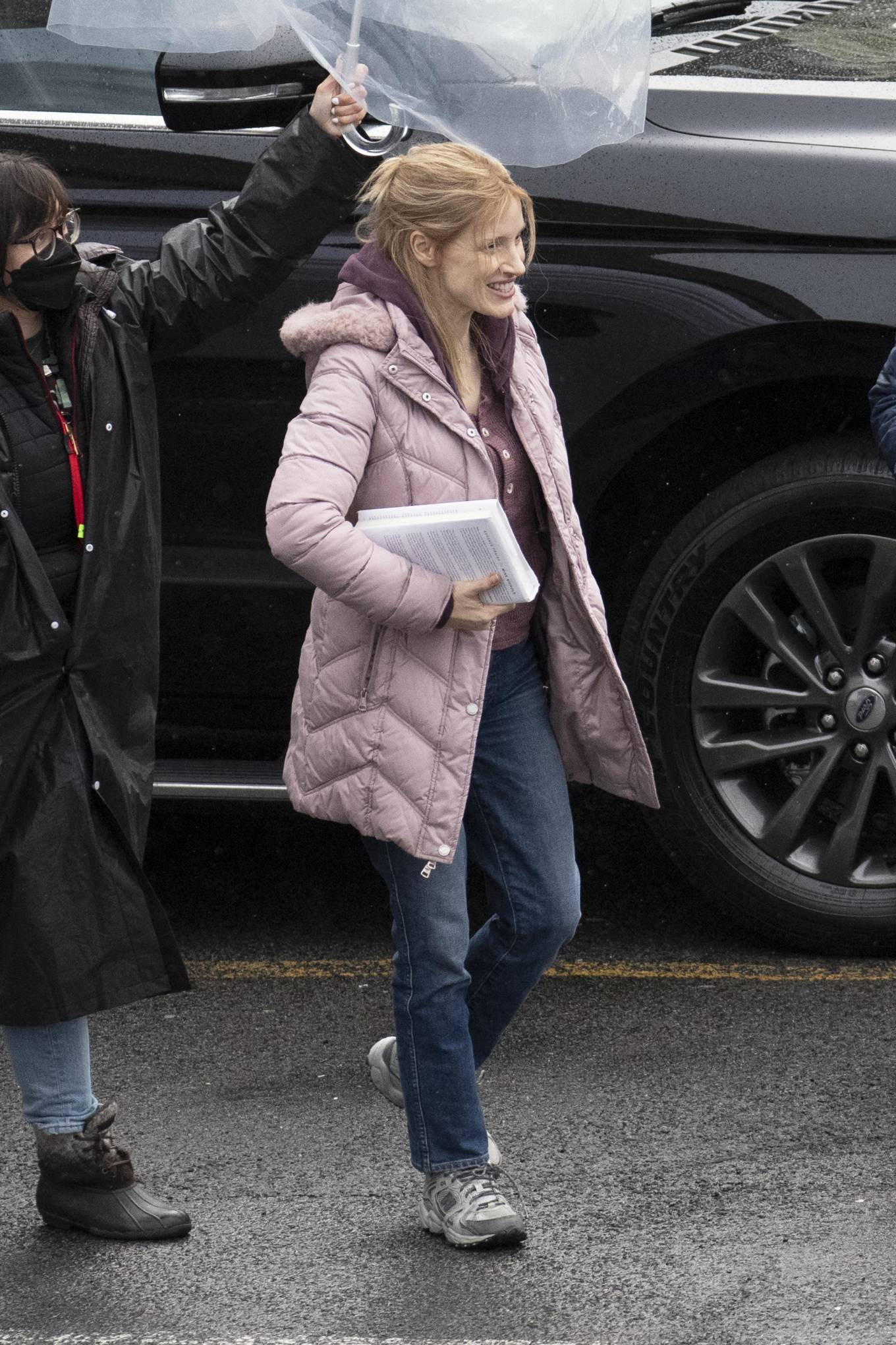 Jessica Chastain 2021 : Jessica Chastain – On rain the set of The Good Nurse in New York-11