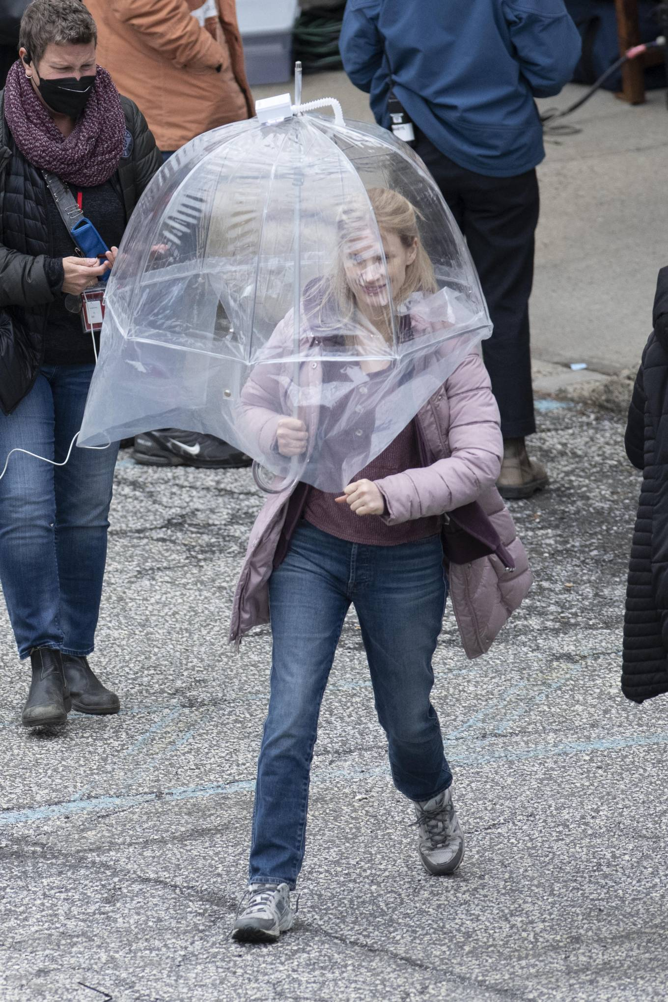 Jessica Chastain 2021 : Jessica Chastain – On rain the set of The Good Nurse in New York-12