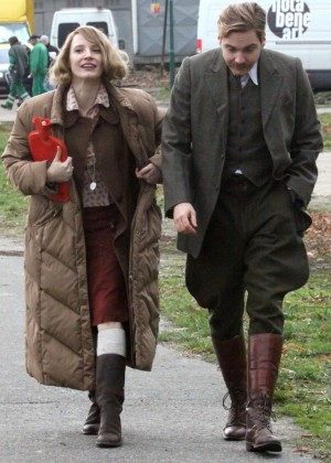Jessica Chastain on the set of 'The Zookeepers Wife' in Prague