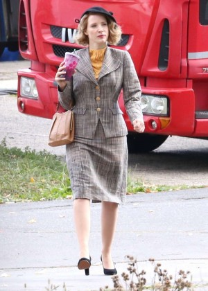 Jessica Chastain on the set of 'The Zookeeper's Wife' in Prague