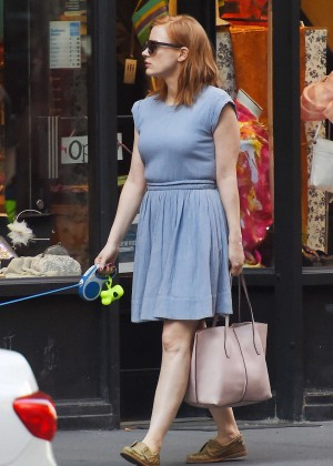 Jessica Chastain in Blue Dress Out in Manhattan