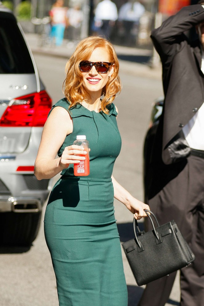 Jessica Chastain in Green Dress Out in NYC