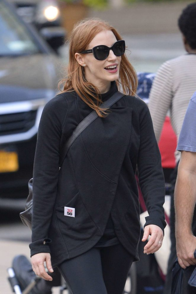 Jessica Chastain out in Lincoln Center in New York City