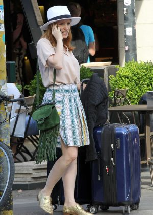 Jessica Chastain out in Milan