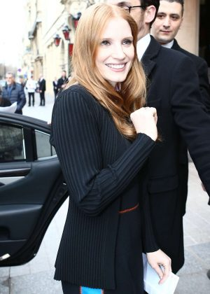 Jessica Chastain out in Paris