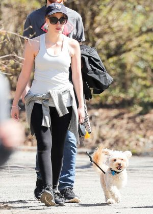 Jessica Chastain walking her dog in Central Park