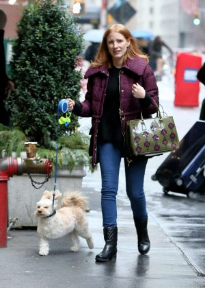 Jessica Chastain With Her Dog in New York City