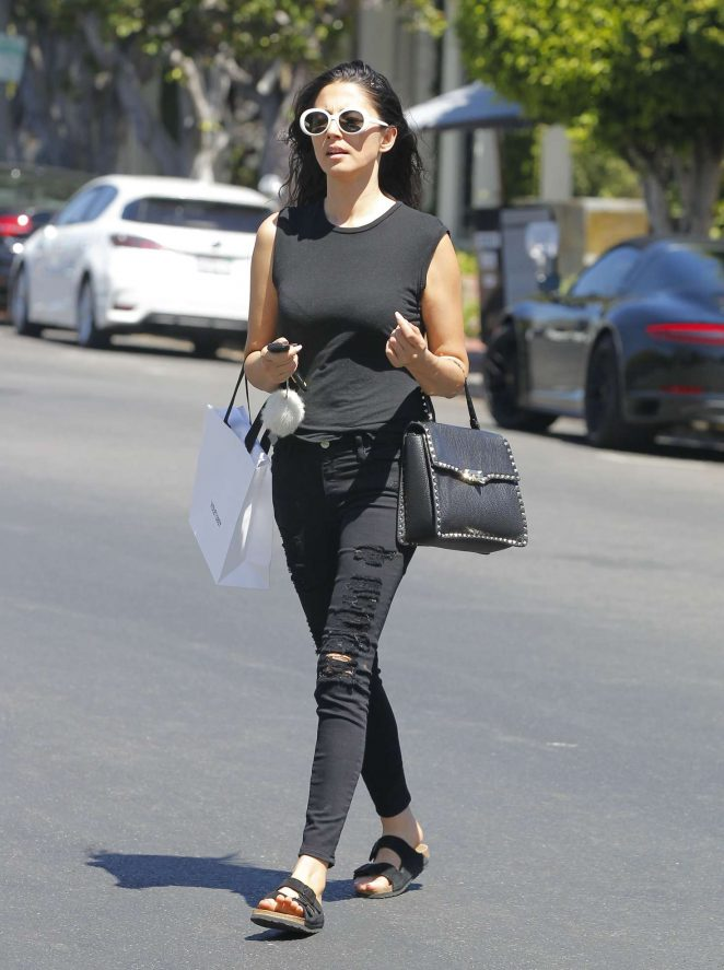 Jessica Gomes in Black Jeans out shopping in Beverly Hills