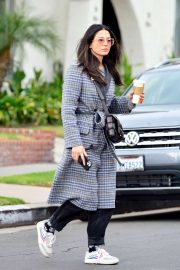 Jessica Gomes in Grey Long Coat - Out in LA