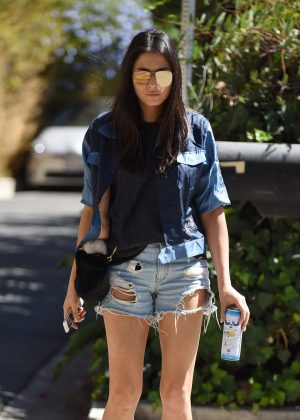 Jessica Gomes in Shorts arriving on set of her new movie in Los Angeles