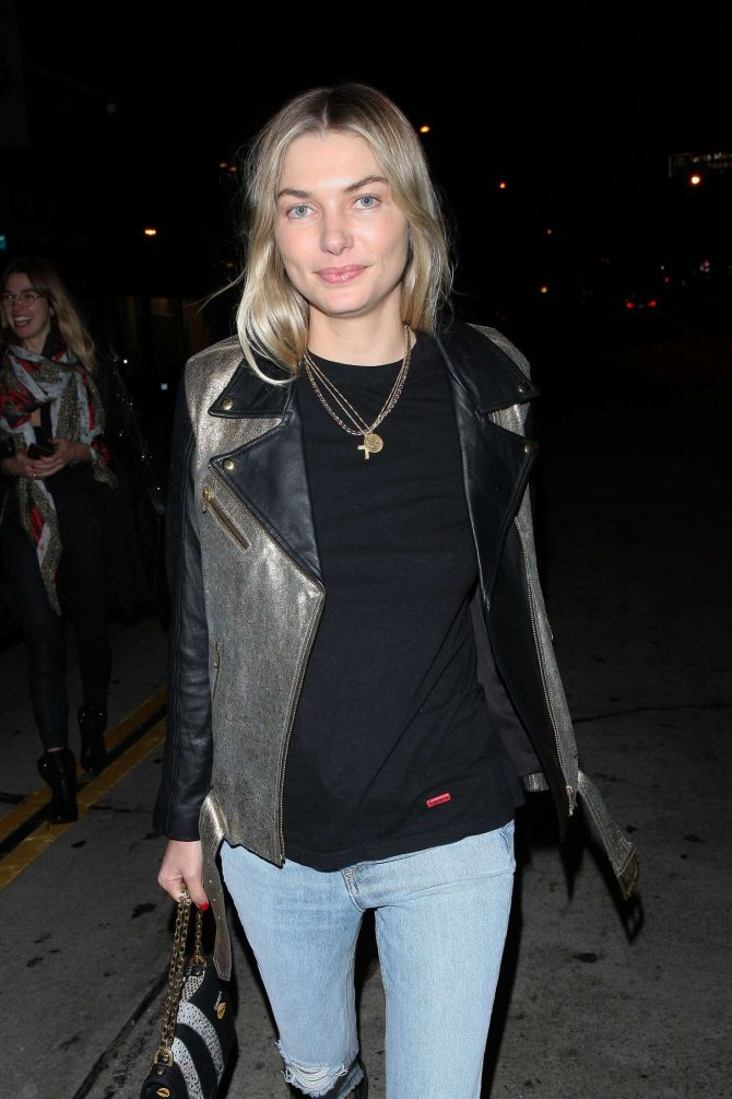 Jessica Hart at Craig's Restaurant on Christmas Eve in West Hollywood
