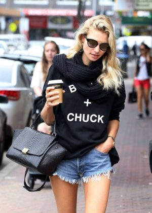 Jessica Hart in Cut-offs out in Sydney