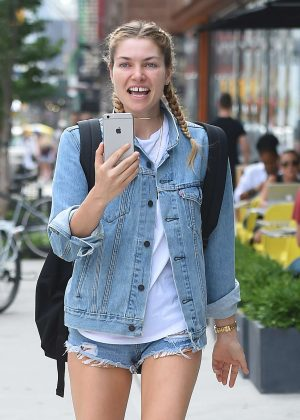 Jessica Hart in Jeans Shorts out in New York City