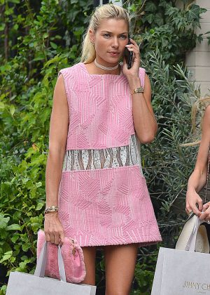 Jessica Hart in Pink Mini Dres Shopping in NYC