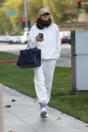 Jessica Hart in White Sweatsuit - Out in Los Angeles