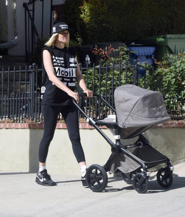 Jessica Hart - stroll with her baby in Los Angeles
