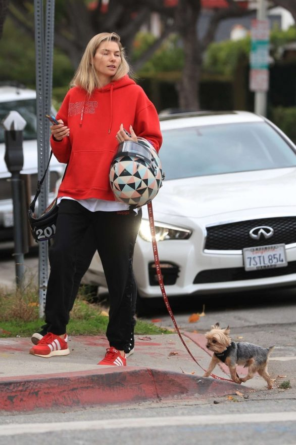 Jessica Hart - Walking her pooch in West Hollywood