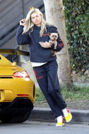 Jessica Hart with her puppy in LA