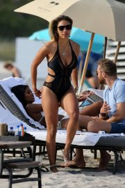 Jessica Ledon in Black Swimsuit on the beach in Miami