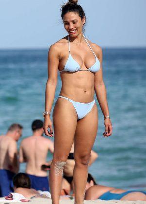 Jessica Ledon in Blue Bikini on the beach in Miami
