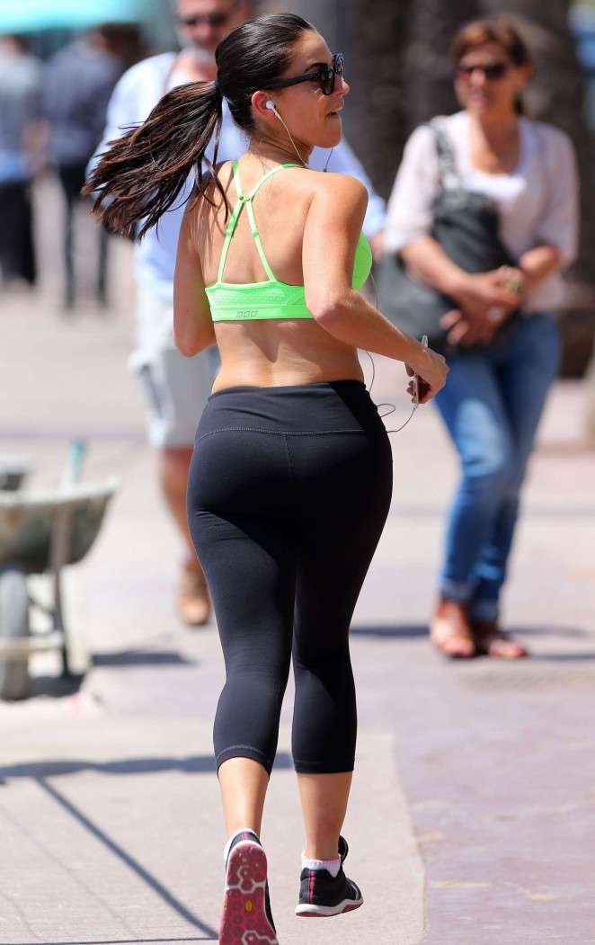 Jessica Lowndes in Tights Jogging in France